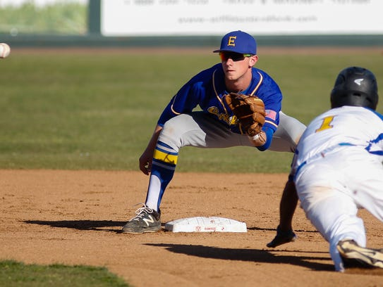 Exeter's Dillon Howell makes the tag during the 34th