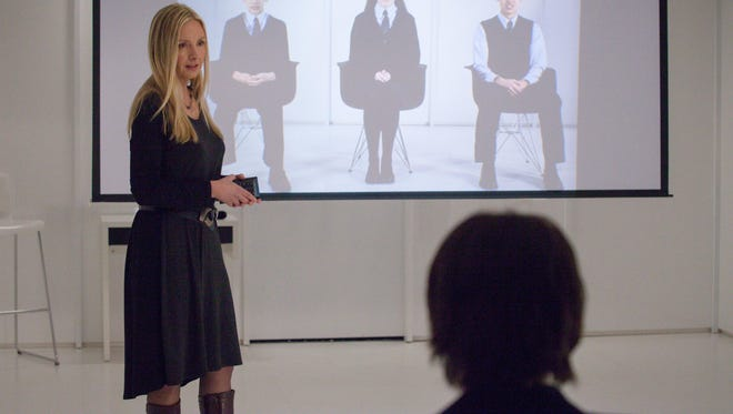 Megan Fisher (guest star Hope Davis) holds an orientation with new students at Wayward Pines Academy in the 'The Truth' episode of 'Wayward Pines.'