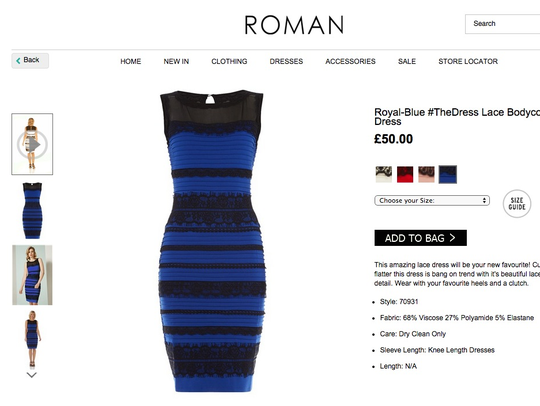"""The dress"" is actually blue and black. It's for sale"