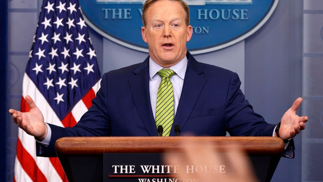 White House press secretary Sean Spicer speaks during the daily press briefing, Thursday, Feb. 2, 2017, in the briefing room of the White House in Washington.