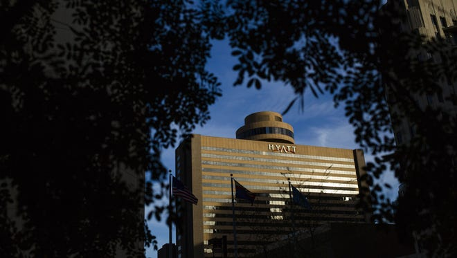 The Hyatt Regency Hotel on Tuesday, Jan. 19, 2016, in downtown Phoenix, Ariz. The hotel, completed in 1976, has hosted numerous conventions, weddings and served as a headquarters for major sporting events.