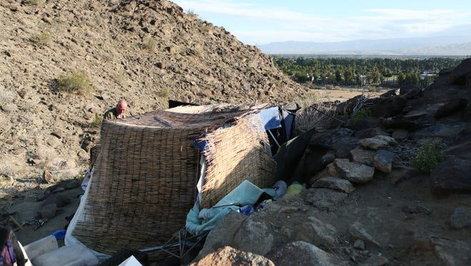 A homeless camp off the hiking trail behind the Rimrock Shopping Center in Palm Springs.