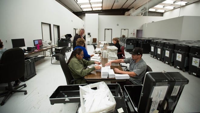 Members of the Doña Ana County precinct board work to count votes in the GO Bond/city charter mail-in election Tuesday Aug. 21, 2018 at the Doña Ana County Clerk's Office warehouse.
