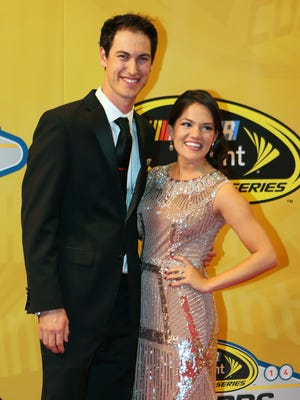 Joey Logano and his then-fiancee Brittany Baca during the NASCAR Sprint Cup Series Awards in Las Vegas on Dec. 5.