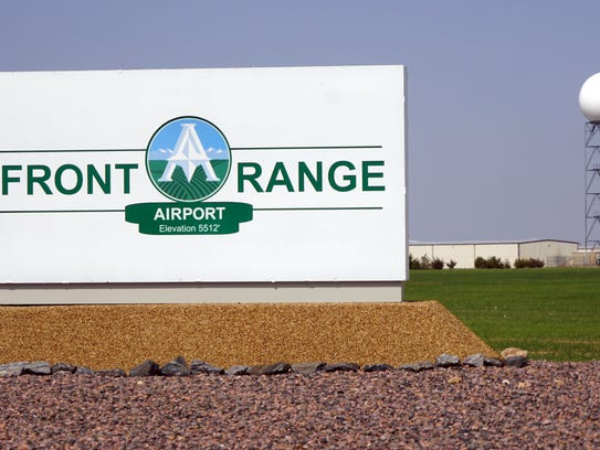 A sign marks the entrance to the Front Range Airport east of Denver on April 30, 2018. Airport managers hope to become Spaceport Colorado by the end of the year.