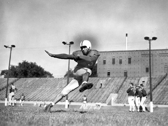 Johnny Bright amassed 5,903 in total offense during his Drake University football career, with 3,134 of those yards by rushing in 513 attempts.