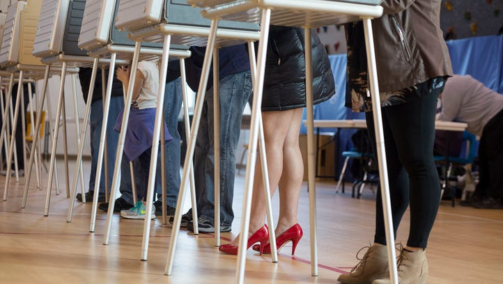Voters stand in a single row to cast their ballots at Holden Year-Round Elementary School in Sterling Heights on Tuesday afternoon, Nov. 8 2016,