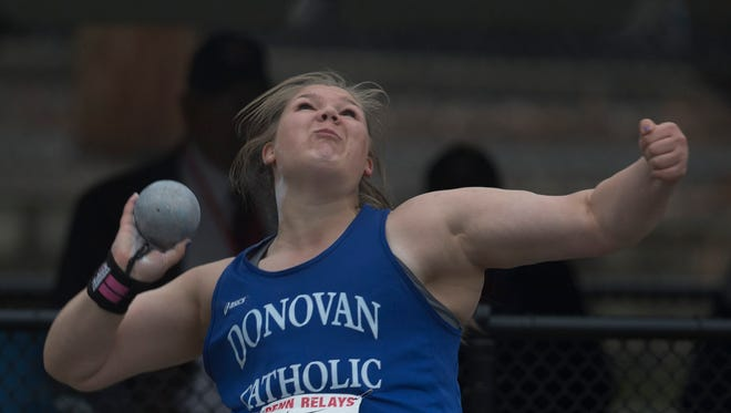 Donovan Catholic's Alyssa Wilson took first in High School Girls Shot Put on Thursday events at Penn Relays in Philadelphia Pa, on April 28, 2016.