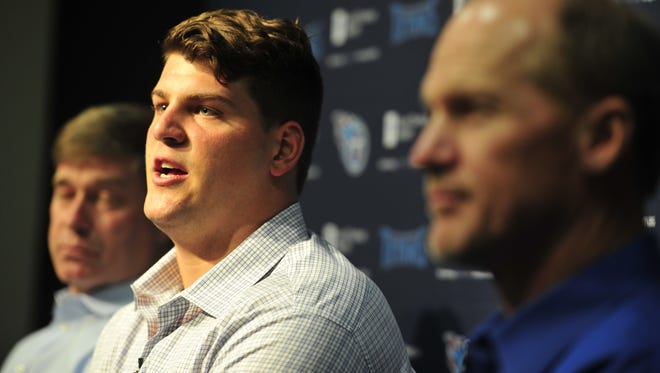 Titans first-round pick Taylor Lewan during a press conference at Saint Thomas Sports Park on May 9, 2014.