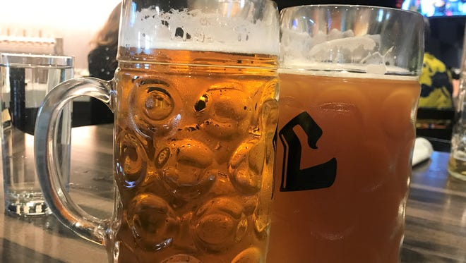 Great glass steins of beer at Liter House German restaurant and brewery. In late summer 2018, the brewery will produce its own Oktoberfest beer, as well as other German-style favorites.