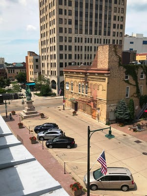 Soldiers Square in Appleton must remain a public thoroughfare, according to a deed restriction. The land is separate from the parcel eyed for a new public library.