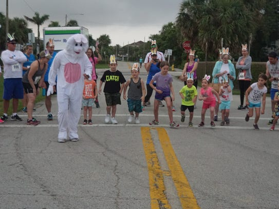 The Easter bunny encourages the children participating