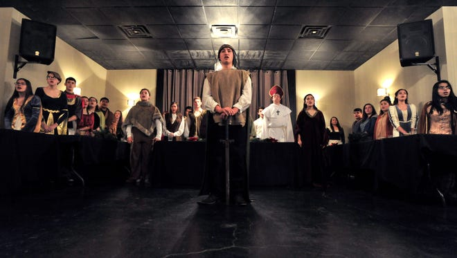 Brence Jasso performs during the Snyder High School's madrigal dinner Tuesday Dec. 12, 2017. The medieval-themed evening was part-dinner theater, part-concert.