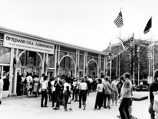 One of the sure signs of spring in Nashville is the opening of Opryland U.S.A. amusement park, and visitors line up to enter the gates for the first time March 20, 1985. The park, which hopes to attract more than 2 million visitors this year, kicked off its 14th season.