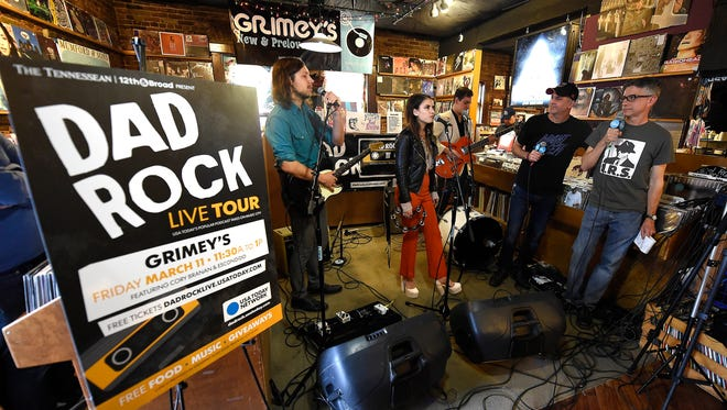 """Patrick Foster and Jim Lenahan interview Escondido during the """"Dad Rock"""" podcast taping at Grimey's New & Preloved Music on March 11, 2016, in Nashville."""