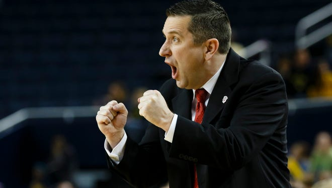 Curt Miller, a former CSU assistant, coaches his Indiana team during a 2013 game. Miller was introduced Thursday as the new coach of the WNBA's Connecticut Sun.