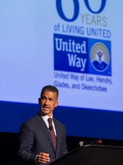 United Way campaign chair Robert Wilson talks about the importance of donating during the United Way of Lee, Hendry, Glades and Okeechobee 2016-2017 Campaign  Kick-off Breakfast at the Harborside Event Center on Wednesday, October 26, 2016.
