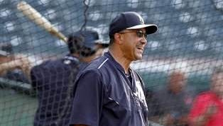 Yankees first-base coach Tony Pena laughs during pregame batting practice in 2015.