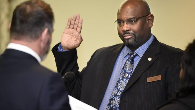 Grovetown City Councilman Allen L. Transou  takes the oath of office at Grovetown City Hall in Grovetown, Ga., Thursday afternoon January 2, 2020.
