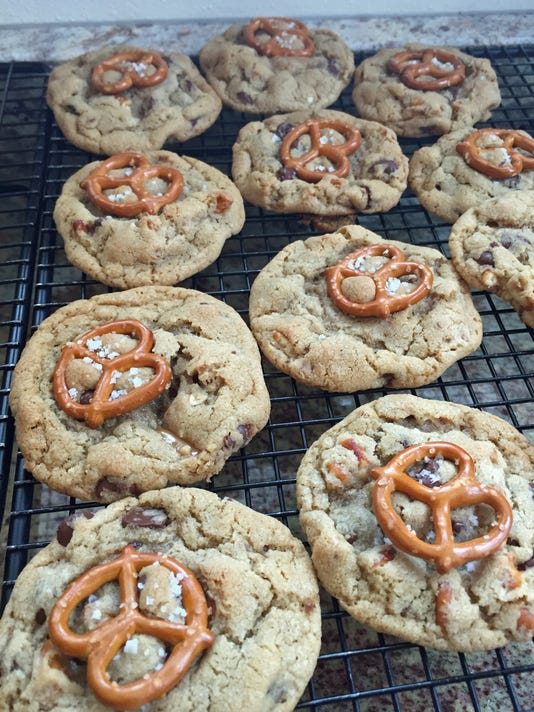 salted caramel pretzel chocolate chip cookies