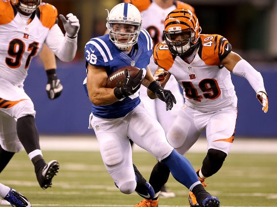 Indianapolis Colts running back Tyler Varga (38) looks for yards after catching a pass from quarterback Bryan Bennett in the second half of their preseason game Thursday, September 3, 2015, at Lucas Oil Stadium.