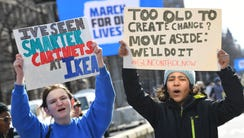 Demonstrators gather at the March For Our Lives rally
