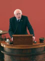 Sen. Bernie Sanders speaks during the annual Dr. Martin Luther King Jr. Remembrance at the First Unitarian Universalist Society in Burlington on Sunday, Jan. 14, 2018.