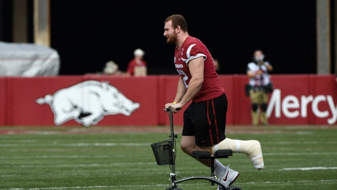 Arkansas offensive lineman Frank Ragnow started 33 straight games before he was sidelined with a high ankle sprain.