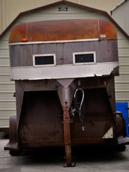 The front end of a horse trailer at the Taylor County Expo Center on Wednesday looks more like a futuristic helmet than a face.
