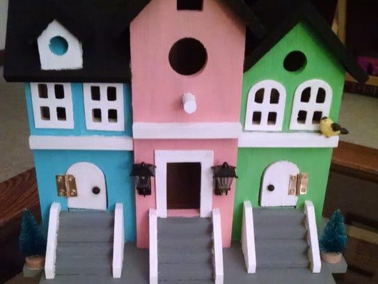This colorful block of birdhouses is handmade in Racine.