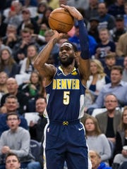 Apr 11, 2018; Minneapolis, MN, USA; Denver Nuggets guard Will Barton (5) shoots in the first quarter against Minnesota Timberwolves at Target Center. Mandatory Credit: Brad Rempel-USA TODAY Sports