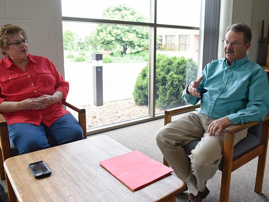 Mike Redmond and his wife June talk about their work helping people recover from addiction during an interview Wednesday, June 1 in St. Cloud.