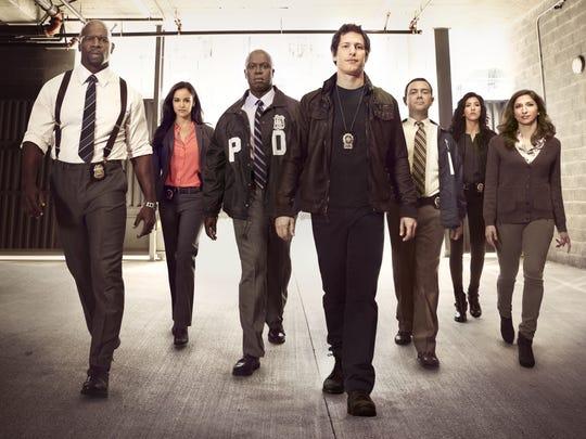 "The cast of ""Brooklyn Nine-Nine:"" Terry Crews, Melissa Fumero, Andre Braugher, Andy Samberg, Joe Lo Truglio, Stephanie Beatriz and Chelsea Peretti."