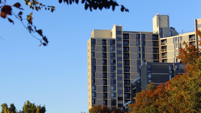 The 808-812 apartments on Memorial Drive pictured from the south in Cambridge. Although the state eviction moratorium ended Oct. 17, the Cambridge moratorium remains in effect until the end of the state of emergency.