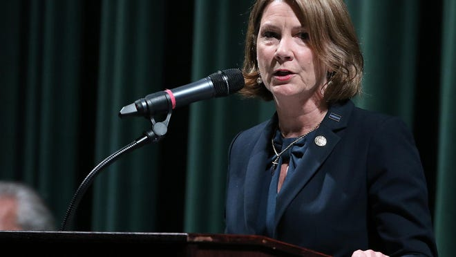 Sen. Kathy Harrington, Republican incumbent for N.C. Senate District 43, speaks at a forum in a Gazette file photograph.