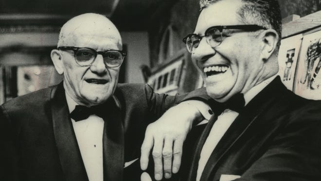 George Halas and Vince Lombardi chat during a pro football writers dinner in New York City in this 1969 file photo.