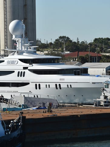 The yacht Double Down is seen on Monday, Dec. 10, 2017,