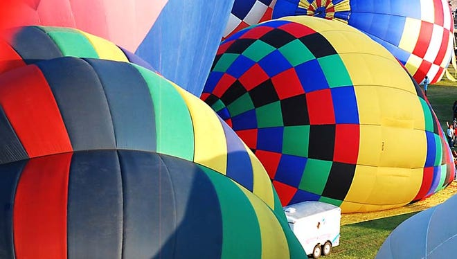 The colorful hot air balloons as seen from above during the annual Solitaire Homes Hot Air Balloon Mass Ascension.