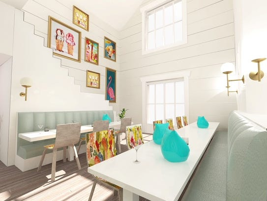 A rendering of the lounge area at a popcorn cafe and