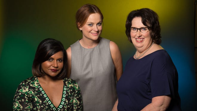 Mindy Kaling, left, Amy Poehler and Phyllis Smith play Disgust, Joy and Sadness in Pixar's latest film, 'Inside Out.'