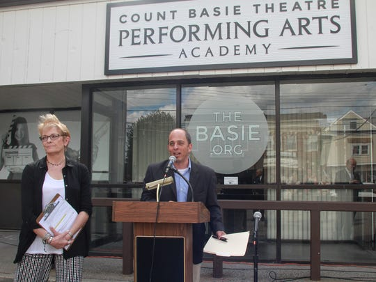Adam  Phiipson, CEO of the Count Basie Theatre, and Yvonne Lamb Scudiery, director of Education at the Red Bank theater. The Basie unveiled a new Performing Arts Academy building. This space will be available to community organizations free of charge.  092115