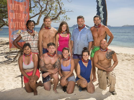"Hali Ford's team on ""Survivor: Game Changers"" includes, back row from left, Michaela Bradshaw, Malcolm Freberg, Ford, Jeff Varner and Troyzan Robertson; front row, from left, Sandra Diaz-Twine, Caleb Reynolds, Ciera Eastin, Aubry Bracco, and Tony Vlachos."