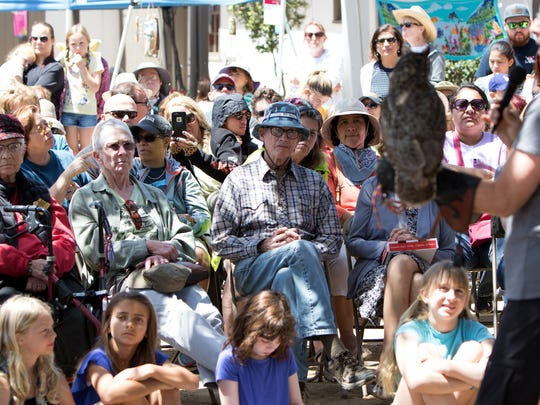 A large crowd learns about Newton a great horned owl during the Owl Festival held Sunday at the Olivas Adobe in Ventura.