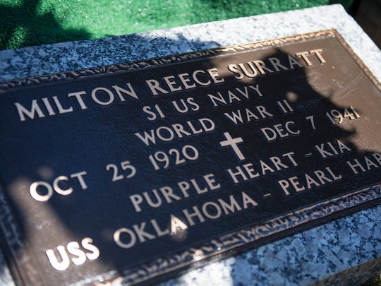 The headstone for Milton Reece Surratt, a sailor killed on the USS Oklahoma during Pearl Harbor, on Friday, October 6, 2017.