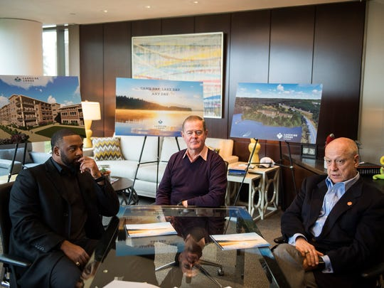 From left, Tajh Boyd, Steve Mudge and Leighton Cubbage talk about their upcoming development project, Lakeside Lodge, on Thursday, Nov. 9, 2017. The mixed condo and hotel will be built in close proximity to Clemson University on the shore of Lake Hartwell.