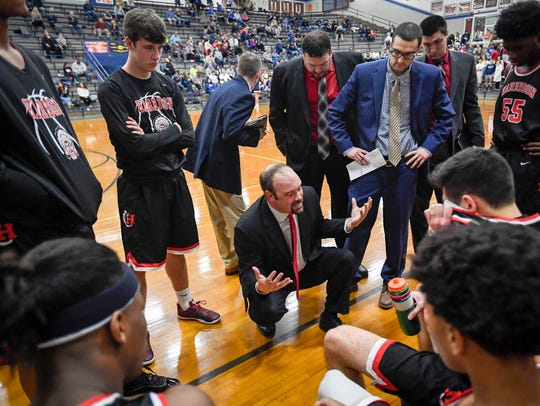 Harrison Head Coach Nathan Fleener talks to his team during a February 2018 game against Reitz.