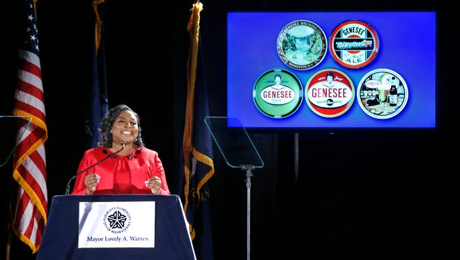 Mayor Lovely Warren delivers her State of the City address at Genesee Brewery.