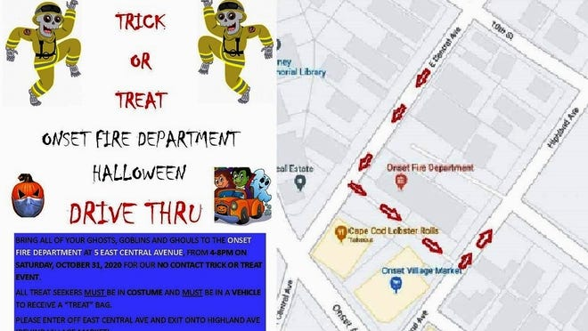 All trick or treaters must be in costume and must be in a vehicle to receive a treat bag. Drivers are asked to enter off East Central Avenue and exit onto Highland Avenue, behind Village Market, to keep traffic flowing and not back up at the intersections with Onset Avenue.