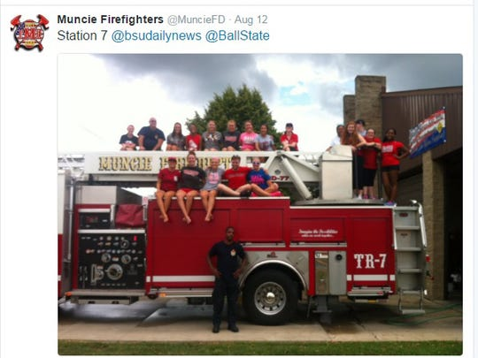 RAs from Ball State helped at Muncie fire stations.