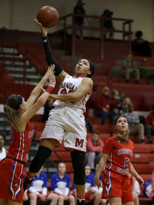 Manual's Tonysha Curry (23) shoots against the defense of CAL's Summer Conti (10) during their game at Manual.Feb. 27, 2017